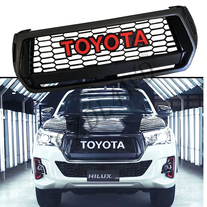 Imitaion Front Carbon Grill Bar Toyota Hilux TRD Logo Rocco 2018 2019 المزود